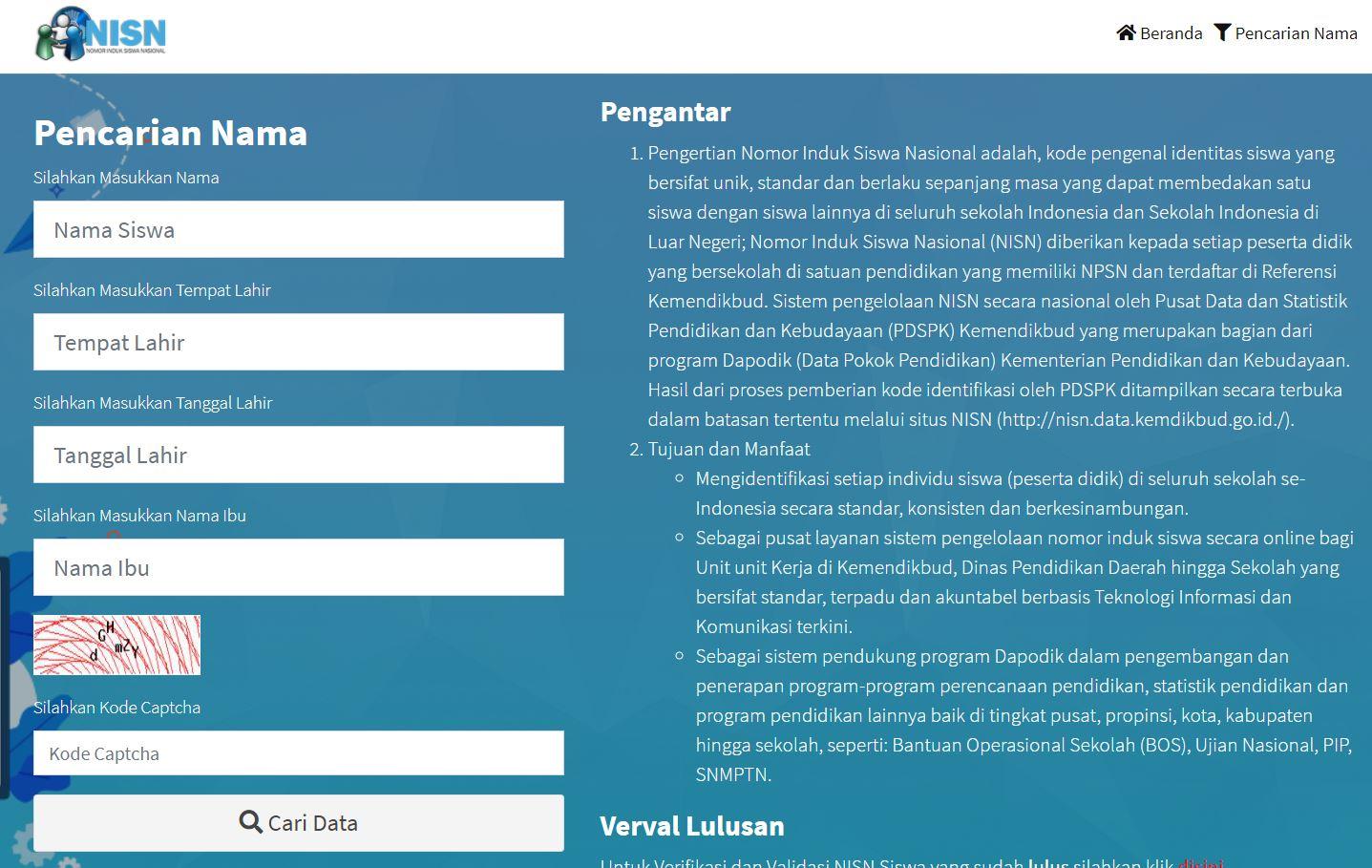 Cek NISN dengan Nama di referensi.data.kemendikbud.go.id/nisn/index.php/Cindex/formcaribynama
