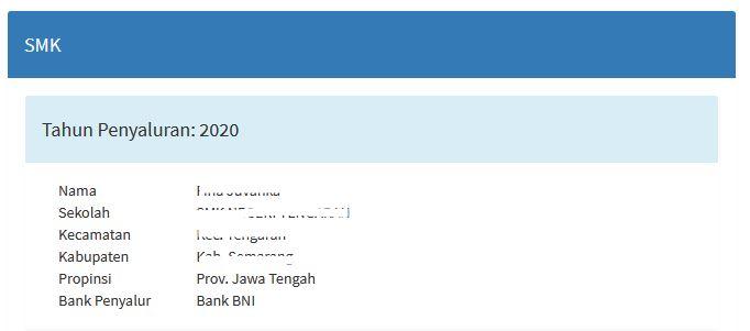 Tampilan hasil cek data siswa dengan NISN di pip.kemdikbud.go.id 2020