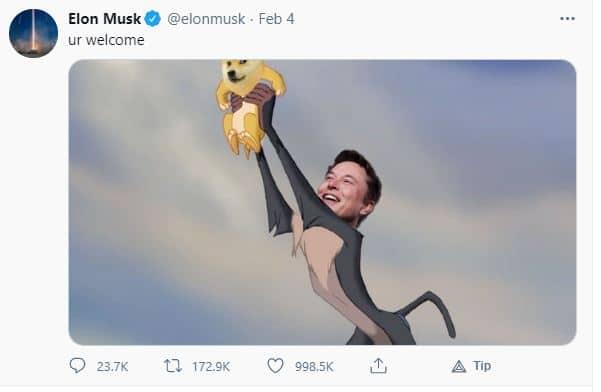 tweet Elon Musk terhadap Dogecoin