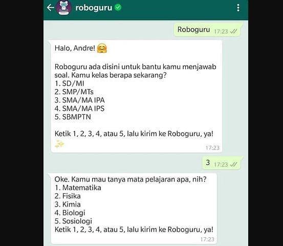 No Whatsapp Roboguru dan Cara Menggunakan Bot Ruang Guru 2021