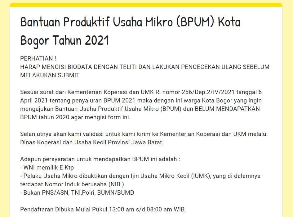 Buka Link: https://bit.ly/bpumkotabogor2021 , Daftar BPUM Tahap 3 Kota Bogor April Tahun 2021