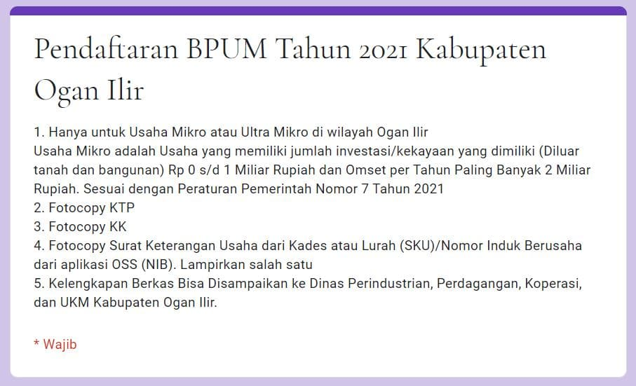 Buka Link https://tinyurl.com/bpumoi2021, Daftar BPUM Tahap 3 Kab. Ogan Ilir April 2021