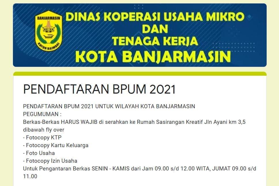 Buka link: https://bit.ly/FormulirBPUM2021BJM, Daftar BPUM Tahap 3 Kota Banjarmasin April 2021