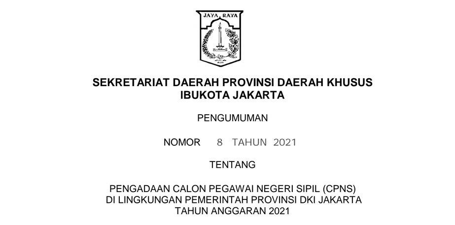 Download PDF Formasi CPNS 2021 DKI Jakarta, PPPK Guru dan Non Guru di SSCN.BKD.GO.ID