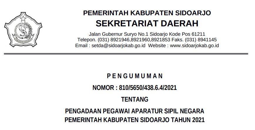 Download PDF Formasi CPNS 2021 Kab. Sidoharjo, PPPK Guru dan Non Guru di SSCN.BKD.GO.ID