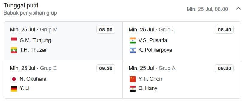 Jadwal Badminton Olimpiade Tokyo 2020 Minggu 25 Juli 2021 Link Live Streaming